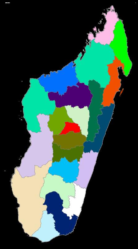 Carte De Madagascar Avec 22 Regions.Centre National De Recherches Sur L Environnement